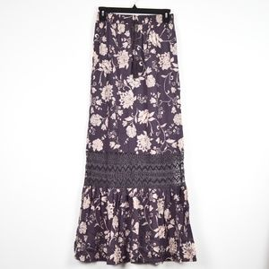 Muted Purple Lace/Floral Maxi Skirt